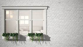 Exterior brick wall with white window with potted plant, showing interior modern living room, blank background with copy space, ar royalty free stock image