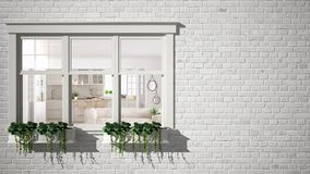 Exterior brick wall with white window with potted plant, showing interior scandinavian living room and kitchen, blank background w stock images