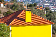 Exterior of Bright Yellow Rural House Royalty Free Stock Photo