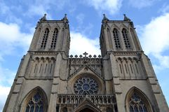 Exterior of Bristol cathedral. And sky Stock Photos