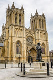 Exterior of Bristol Cathedral on a Cloudy Day Stock Photography