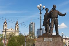 Exterior of the bronze sculpture of workers at the Green Bridge in Vilnius, Lithuania. Royalty Free Stock Photos
