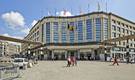 Exterior of Brussels central main railway station royalty free stock images