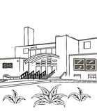 Exterior building coloring page. Hand drawn exterior building design coloring page for kids Stock Photography