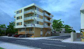 Exterior building, design rendering, architecture. Exterior building, design rendering, modern buildings and houses for architecture visualization Royalty Free Stock Photo