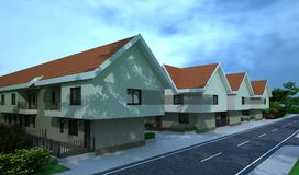 Exterior building, design rendering, architecture. Exterior building, design rendering, modern buildings and houses for architecture visualization Royalty Free Stock Image