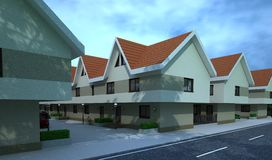 Exterior building, design rendering, architecture. Exterior building, design rendering, modern buildings and houses for architecture visualization Stock Photography