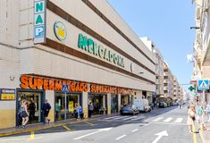 Exterior building store of Mercadona supermarket, Torrevieja, Spain royalty free stock images