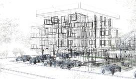 Exterior building wireframes, design rendering, architecture Royalty Free Stock Photo