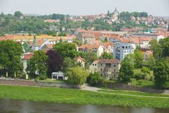 Exterior of the buildings along the bank of the Elbe river in Meissen, Germany. Royalty Free Stock Image