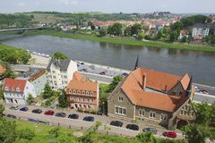 Exterior of the buildings along the banks of the Elbe river in Meissen, Germany. Stock Image