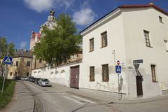 Exterior of the buildings in the historical part of Vilnius city, Lithuania. Royalty Free Stock Photos