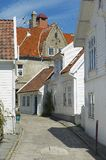 Exterior of the buildings of the old town in Stavanger, Norway. Royalty Free Stock Images