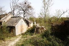 Buildings in abandoned New Milulou Village royalty free stock photo