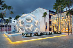 Exterior of Bulgari Shop in Midtown Miami. MIAMI, FL - DECEMBER 31 2014 - Miami's central art district in the Wynwood and Edgewater neighborhoods features an Royalty Free Stock Photography
