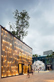 Exterior of Bulgari Shop in Midtown Miami. MIAMI, FL - DECEMBER 31 2014 - Miami's central art district in the Wynwood and Edgewater neighborhoods features an Stock Photography