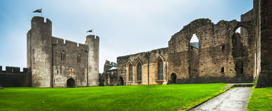 Exterior of Caerphilly Castle, Wales Royalty Free Stock Photography