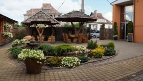 Exterior of the cafe. In Taurage city in Lithuania Stock Photography