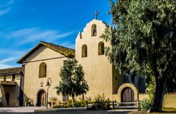 Exterior at a California mission in early morning sunlight Stock Images