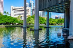 Hawaii State Capitol Reflecting Pool stock images
