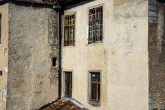 Exterior of a castle ruin with old windows royalty free stock images