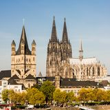 Cathedral of Cologne, Germany. Exterior of Cathedral of Cologne, Germany against blue skies on sunny day Royalty Free Stock Photography