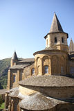 Exterior chapels and turrets. From the 13th century, Abbey Church of St. Foy, Conques, France Royalty Free Stock Photography