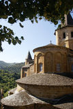 Exterior chapels and turrets. From the 13th century, Abbey Church of St. Foy, Conques, France Stock Photography