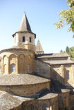 Exterior chapels and turrets. From the 13th century, Abbey Church of St. Foy, Conques, France Stock Image