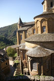 Exterior chapels and turrets. From the 13th century, Abbey Church of St. Foy, Conques, France Stock Images