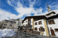 Exterior of the Chesa Veglia hotel in Saint Moritz, Switzerland. Royalty Free Stock Image
