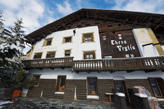 Exterior of the Chesa Veglia hotel in Saint Moritz, Switzerland. Stock Image
