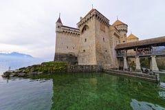 Exterior of Chillon Castle on Lake Geneva in Switzerland Stock Image