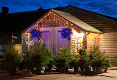 Exterior of a Christmas Tree farm shop Stock Photo