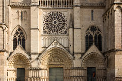 Exterior of the church of St Pierre in Poitiers Royalty Free Stock Photography