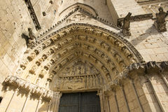 Exterior of the church of St Pierre in Poitiers Royalty Free Stock Photos