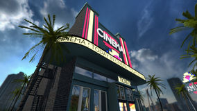 Exterior of a cinema movie theater old fashioned vintage style. A 3D rendered image of a cinema movie theater. On the exterior of the modern old styled building Royalty Free Stock Photos