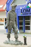 Exterior of the coal mine worker statue at the street of  Longyearbyen, Norway Stock Photos