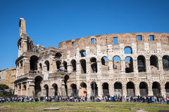 Exterior of the Colisseum in Rome Italy. The Colosseum was the Flavian Amphitheatre built by Vespasian in what was the lake of Nero's Golden House is the most Stock Photos