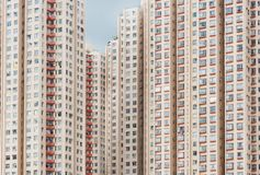 High rise residential building in Hong Kong city. Exterior of colorful high rise residential building in Hong Kong city stock images