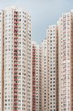 High rise residential building in Hong Kong city. Exterior of colorful high rise residential building in Hong Kong city royalty free stock photography
