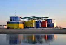 Exterior of colorful houses on coast of the Black Sea, Anapa, Krasnodar Region. Russia Stock Images