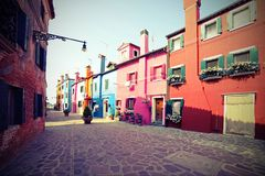 Colorful houses of the island of Burano near VENICE in Italy wit Royalty Free Stock Image