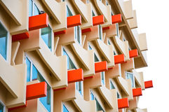 The exterior of colorful modern building from bottom to tip view Stock Photos