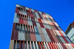 Exterior colorful of a modern office building in Milan, Italy. Europe royalty free stock photo
