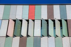 Exterior colorful of a modern office building in Milan, Italy. Europe royalty free stock photos