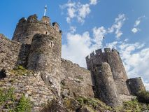 Exterior of Conwy Castle, Wales. View on the battlements of massive Conwy Castle in Wales built by king Edward I as one of the fortifications during the conquest Stock Photography