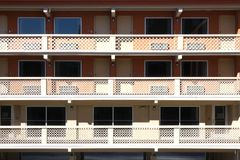 Exterior Corridors. An architectural feature typical of American motels stock photo