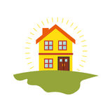 Exterior cute house icon Royalty Free Stock Photography