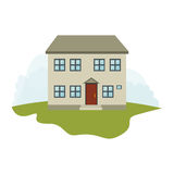 Exterior cute house icon Royalty Free Stock Image